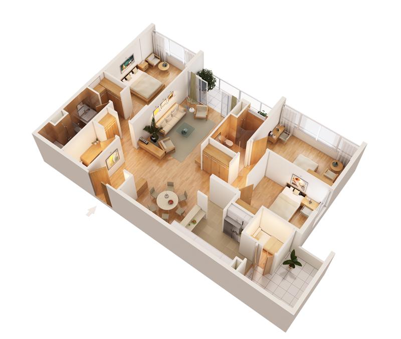 thiết kế nội thất chung cư cao cấp, căn hộ mandarin garden